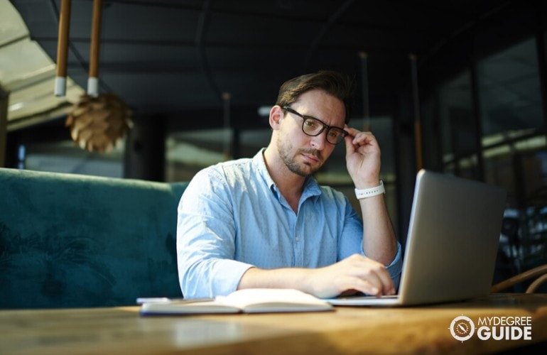 business administrator working online