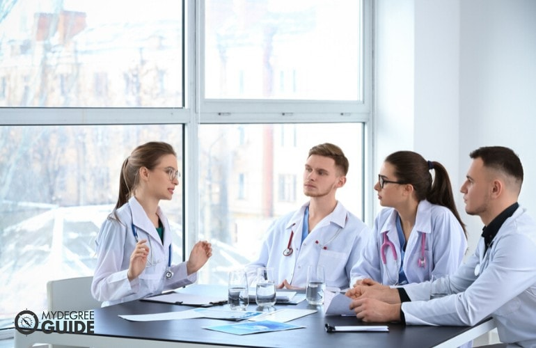 hospital administrators in a meeting