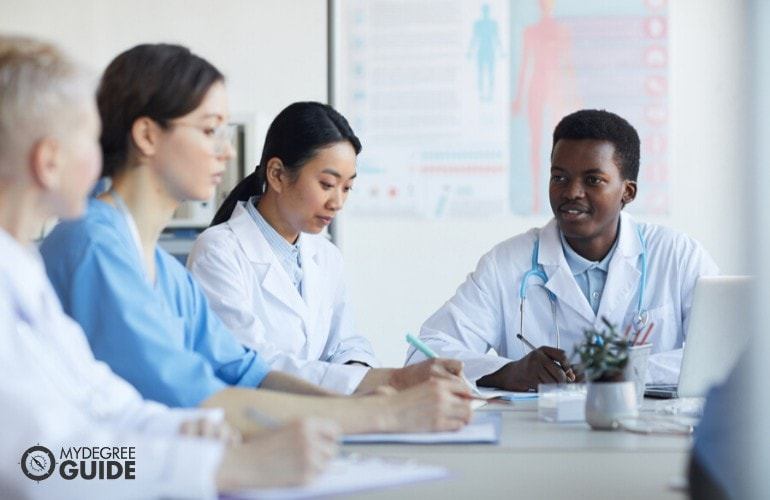 healthcare managers in a meeting