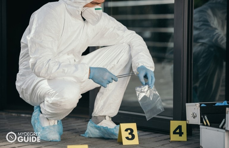 Forensic scientist collecting evidences in a crime scene