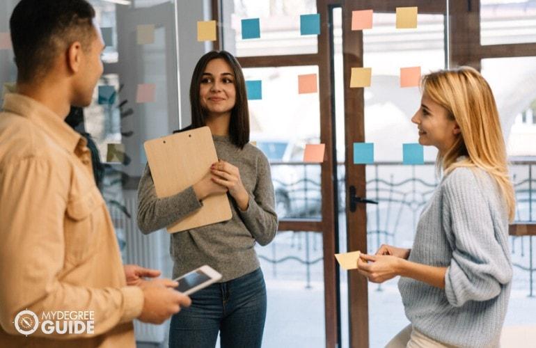 marketing team sharing their ideas during a meeting