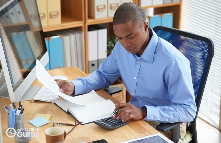 accountant working in an office