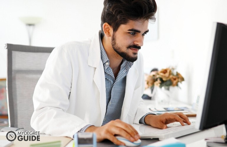 Public health student studying online
