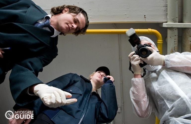 police detective in a crime scene