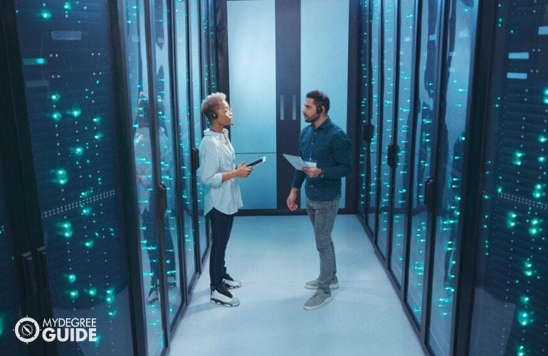 data administrators checking the data center