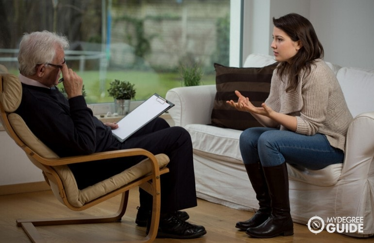 psychologist and patient during therapy session