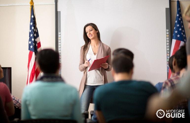 psychology professor teaching in a university