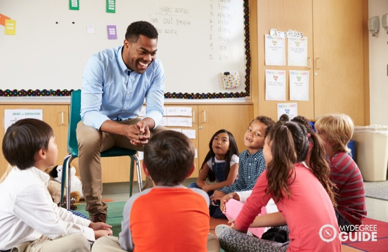 Elementary Education Teacher telling s story to his students in class