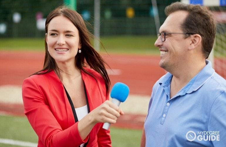 journalist interviewing a businessman
