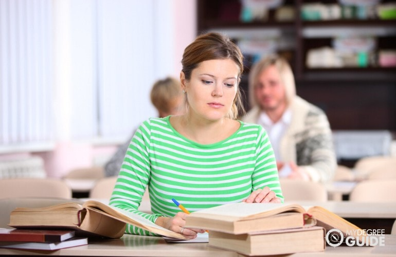 adult Bachelor Degree student studying in a public library