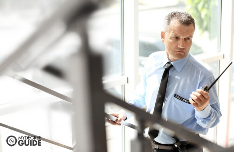 security guard checking the building