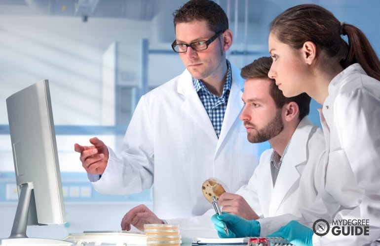 Health researchers working in a laboratory