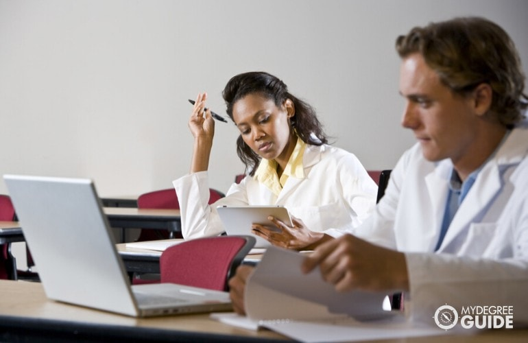 Health Information Technology students studying in class