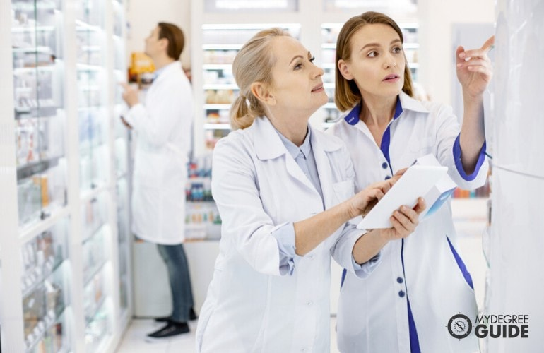 Health Information Manager checking inventory of hospital pharmacy