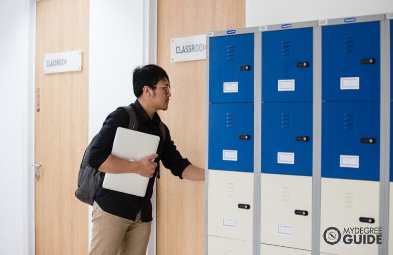 student walking into classroom