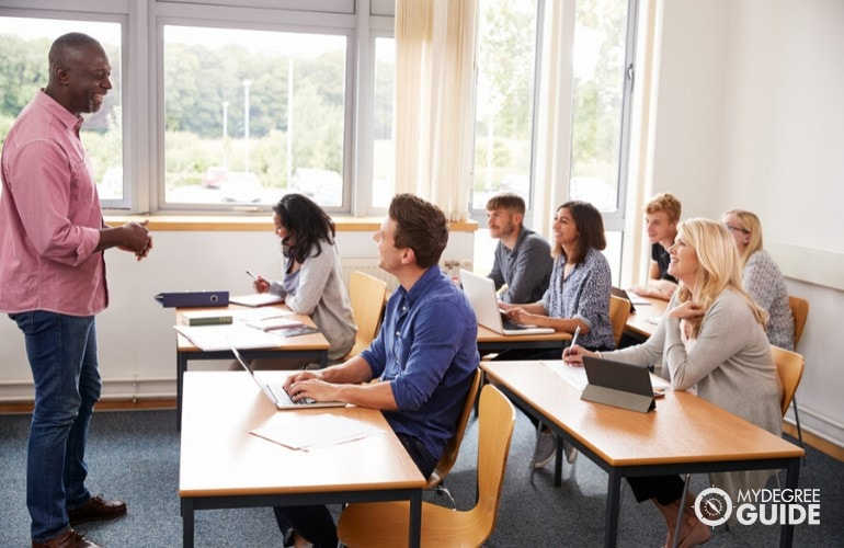 doctorate degree students in the classroom