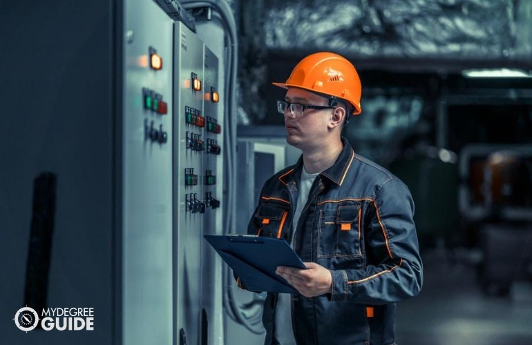 Electrical Engineer working in a manufacturing plant