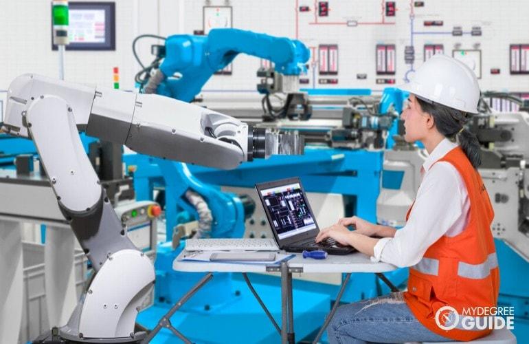 software engineer developing a robot machine