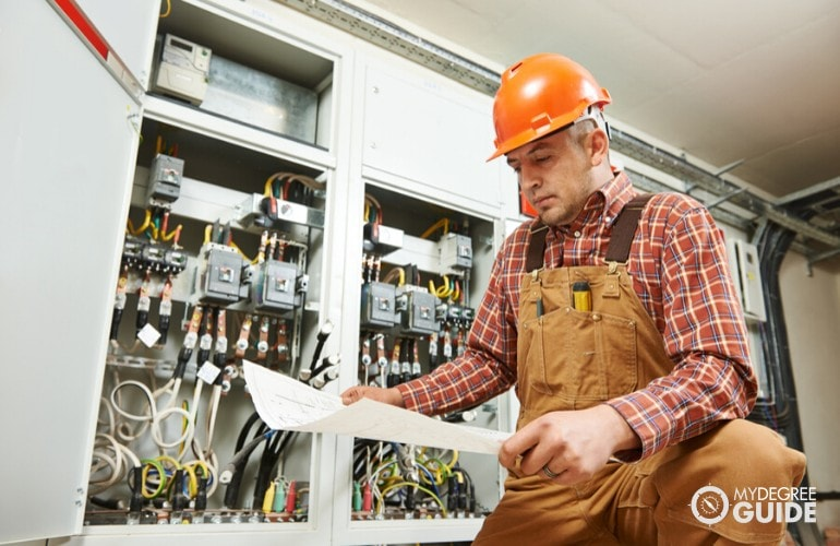 Electrical Engineer doing maintenance on electrical wirings