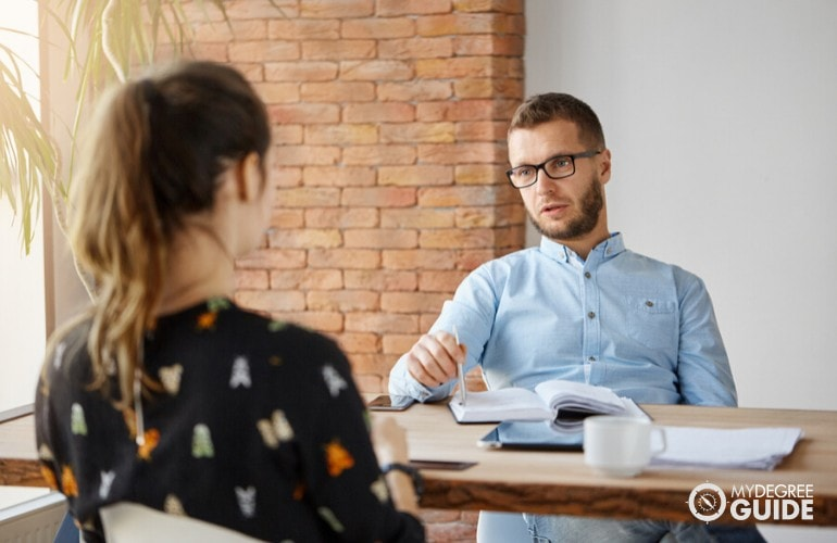 Human Resources Manager interviewing an applicant
