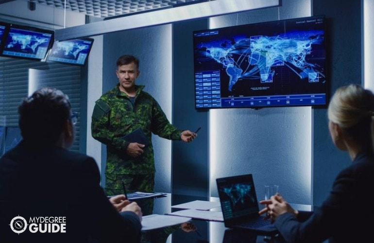 Military Research Analyst presenting his work to his supervisors