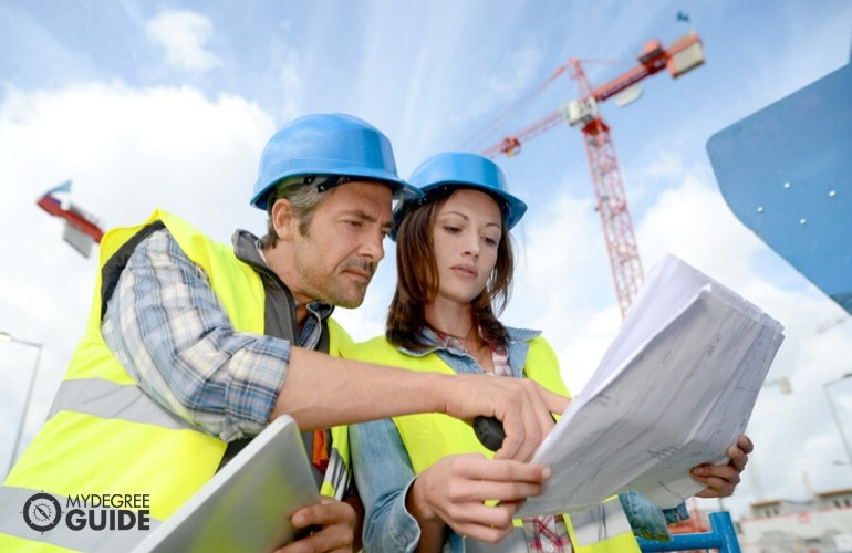 Engineers working at a construction site