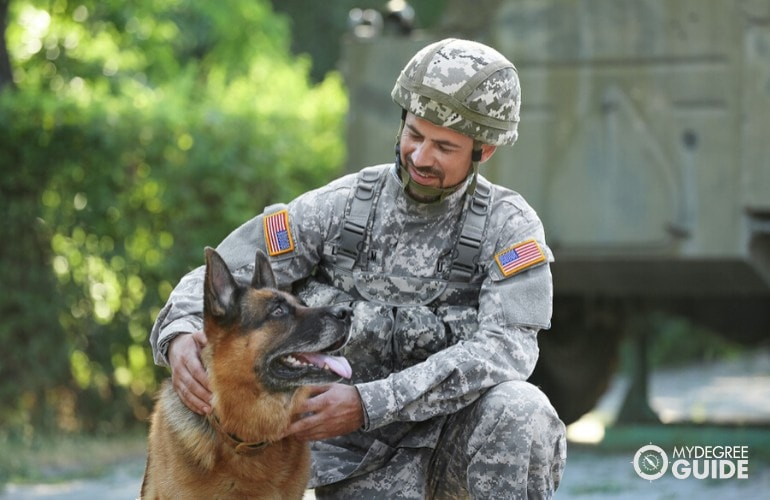 US military with his dog