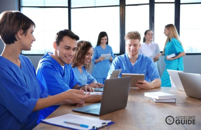 nursing students studying together