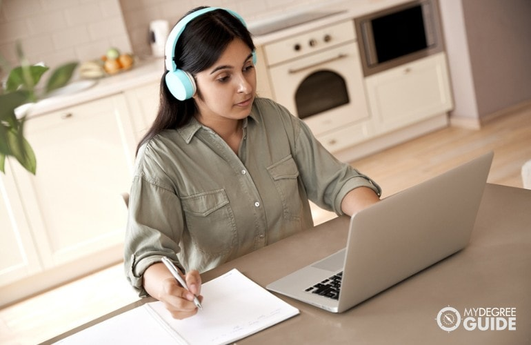 Masters Degree in Education student studying at home