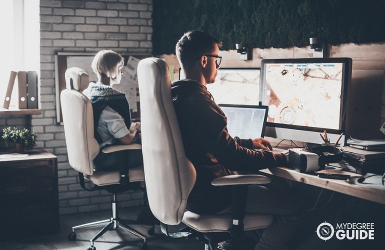 Game Developers working in an office