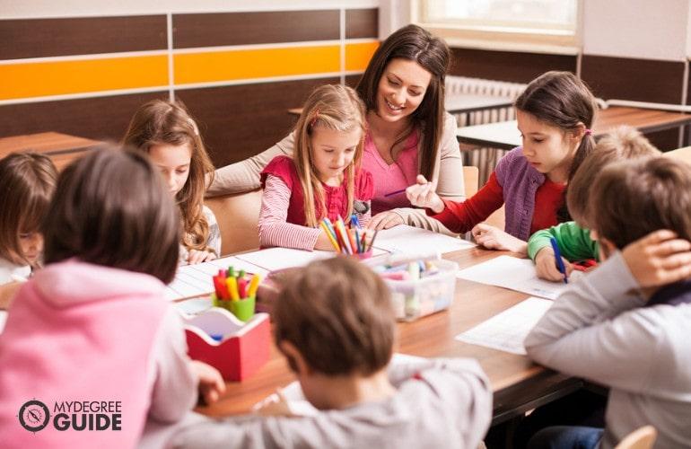 Preschool teacher teaching her students in a classroom
