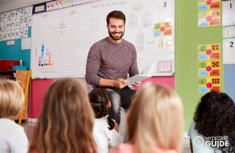 Elementary teacher teaching his students in a classroom