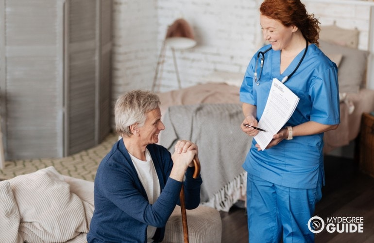 Nurse Practitioner taking care of an elderly patient