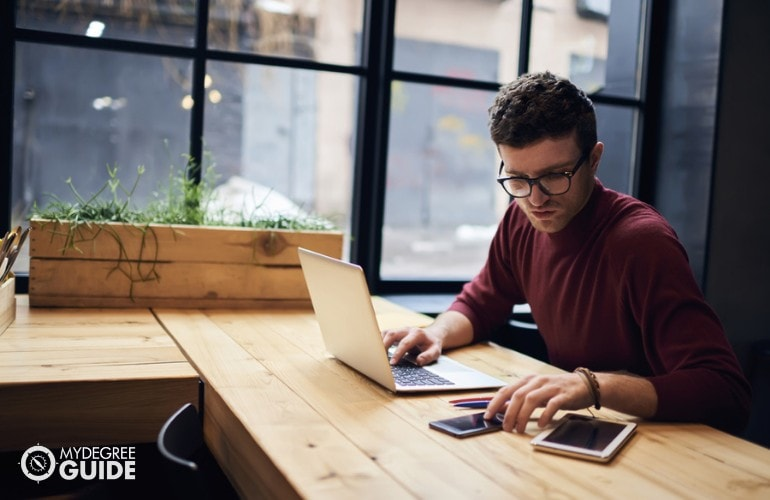 Masters in Education student studying online