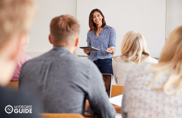 College teacher having a lecture