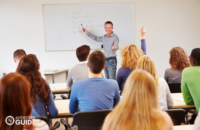 College Professor teaching in a university