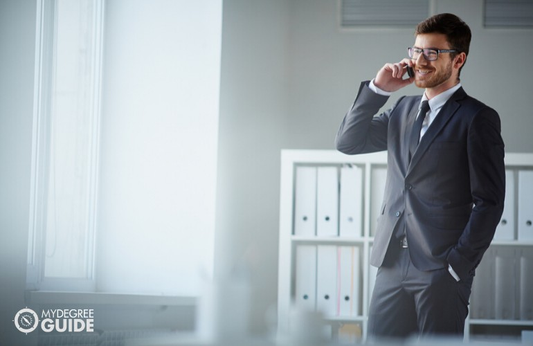 Management Analyst talking to someone on the phone