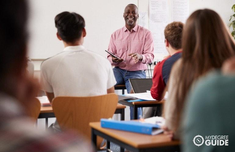 History Professor teaching college students