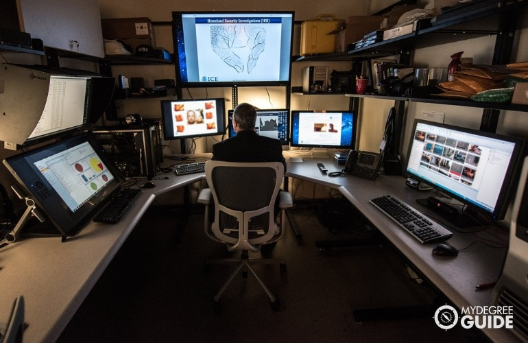 crime analyst inside a lab