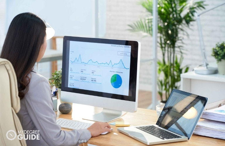female employee analyzing company's financial status