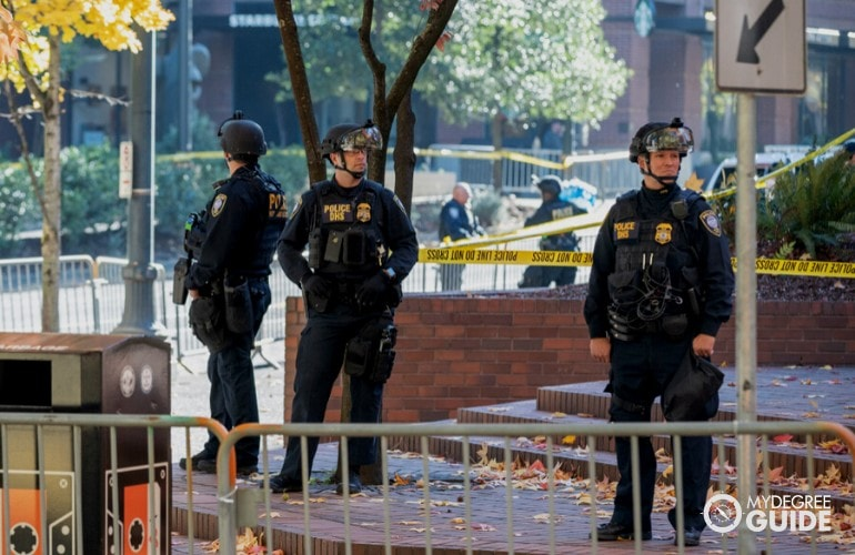 homeland security officers in downtown area