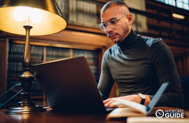 Historian working in a library