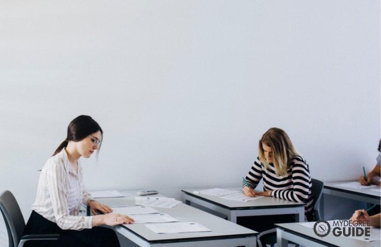 a female professor grading an exam