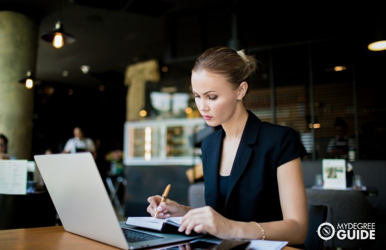 Public Relations Specialist working in a cafe