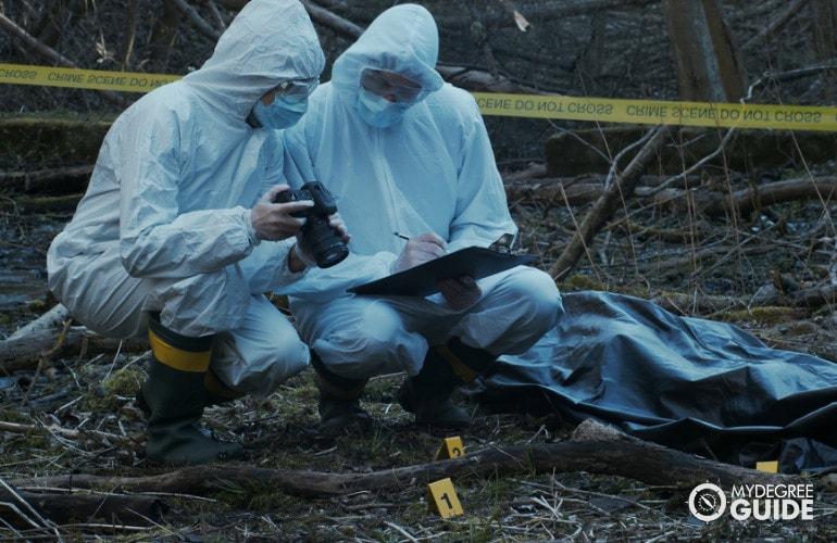 Private Detectives investigating the crime scene