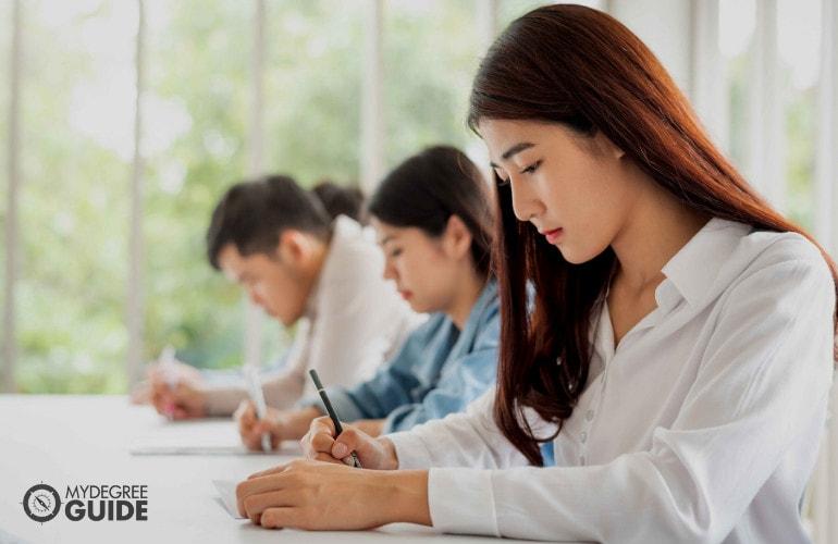 people taking an exam