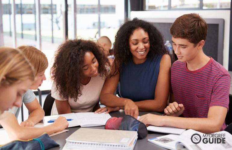 High School Teacher teaching her students in Economics