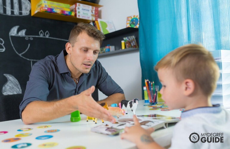 School Psychologist with a child