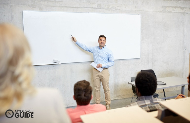 political science professor teaching in a university