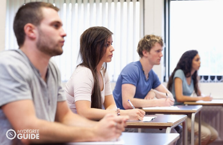 college students in university classroom